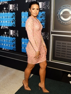 Demi Lovato showed up in a sizzling hot sexy pink dress at the 2015 MTV VMAs on Sunday, Aug. 30