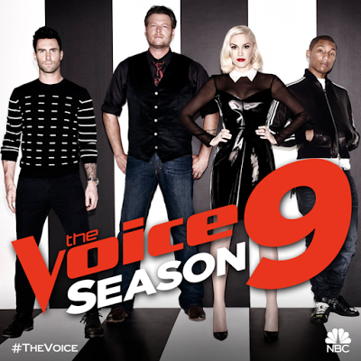 The four judges: Gwen Stefani, Blake Shelton, Pharrell, and Hersker Levine on The Voice season 9