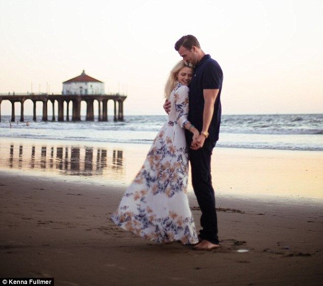 romantic shot of herself, witney carson, with her new fiancé, Carson Mcallister